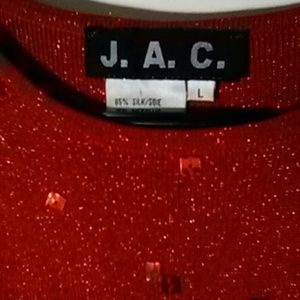 J.A.C. Tops - RED TOP WITH GLITTER, size M, 85%SILK,15% METALLIC